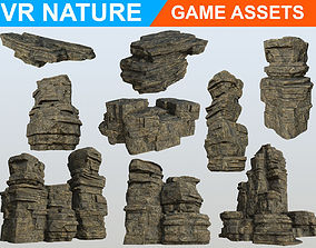 3D asset Low poly Realistic Ancient Ruins Modular pack