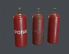 3D model realtime 50 Liter Gas Cylinder PBR Game Ready
