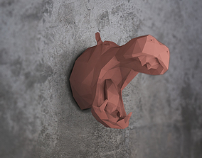 3D print model Hippo Low poly wall decoration