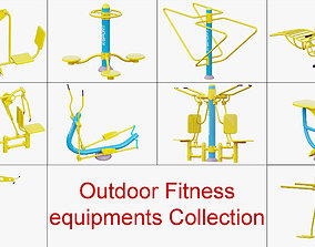 Outdoor Fitness equipments Collection 3D