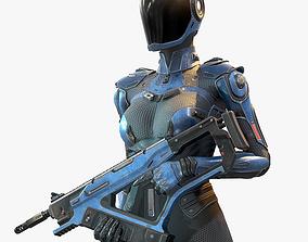 3D model Female Cyborg Low Poly