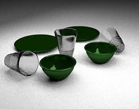 3D asset Green Dishes
