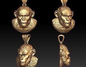 Monkey pendant 3D printable model
