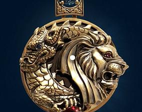 3D printable model Dragon and Lion Pendant