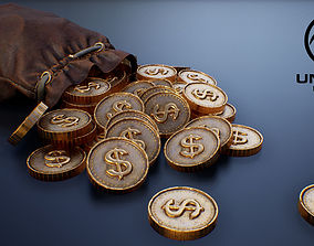 3D asset Leather Purse with Gold Coins - PBR Game-Ready