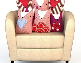 3D Chair Seat and textile set of pillows cats