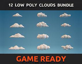 3D model 12 Low Poly Clouds Bundle
