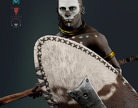 3D model African ZULU Warrior RIGGED