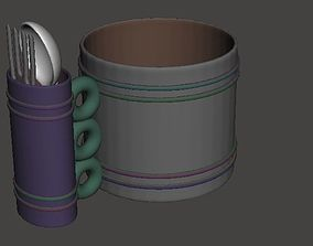 Camping cup mug set with spoon-folk for 3D print model 1
