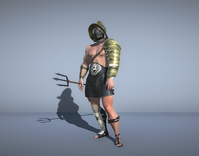 3D model Gladiator with trident