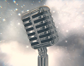 Retro microphone 3D old