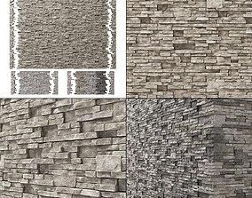 3D Brick stone wall granite many n3