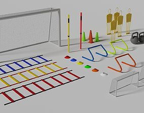 3D asset low-poly Football Training Equipments