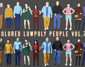 Colored Lowpoly People 3D asset game-ready