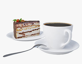 3D model cake and coffee