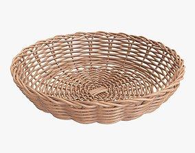 Wicker basket tray light brown 3D