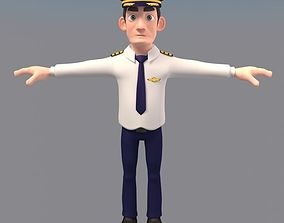3D model animated Cartoon Pilot Character