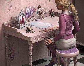3D Pink Oak Desk