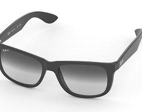 3D Ray-Ban RB4165 Justin Rectangular Sunglasses