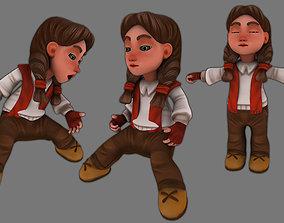 3D model animated little girl for winter game