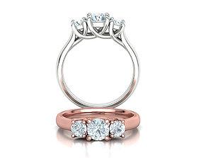Trellis Three Stone Engagement Ring Comfort Fit Shank 1