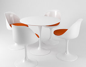 Saarinen Tulip chairs and table - Knoll 3D model