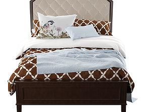 Abe Upholstered Panel Bed 3D model