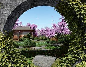 3D model Render Japan House Cherry Blossom