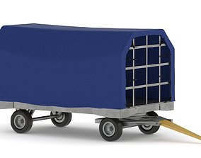 3D model Covered Airport Luggage Trailer