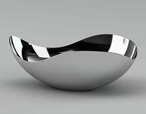 Silver Metal Bowl Sculpture 3D model