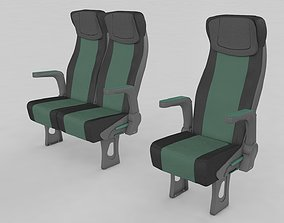 3D model Bus and Train Seat Passenger Rigged