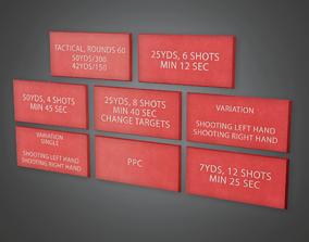 Firing Range Wall Signs - FR - PBR Game Ready 3D asset