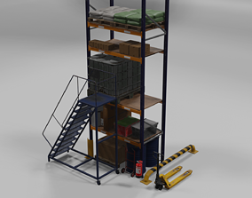 Warehouse pack PBR low poly 3D model