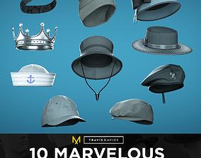 10 Marvelous Designer Hats 3D model