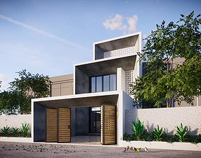 animated wine Exterior House design 3d model
