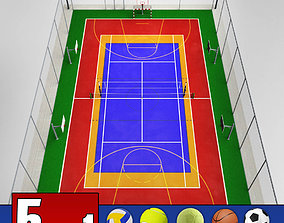 Multi sport court centrum pack 3D