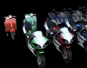 Motorcycles 3d model lowpoly pack rigged