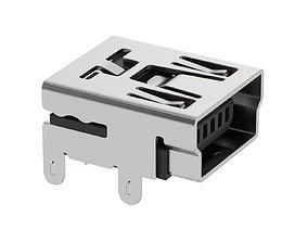 USB Mini B Female 3D model
