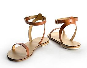 wide Finlay Leather Flat Sandals 3D