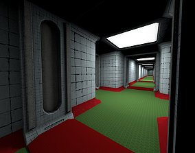 Abandoned Hospital Corridor Next-Gen Game 3D model 3