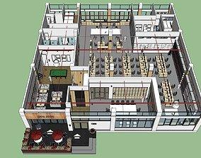 3D model Modern minimalist large office space