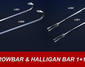 3D asset Crowbar and Halligan Bar Game Ready