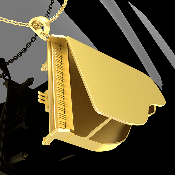 Piano Jewelry Pendant Gold 3D print model