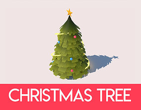 Low Poly Christmas tree 3D asset VR / AR ready