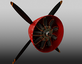 3D Radial Aircraft Motor with propeller and plane nose