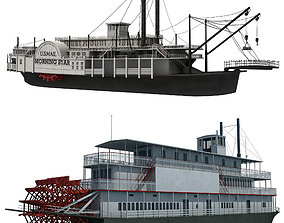 Historic Paddle Steamer River Boats 3D
