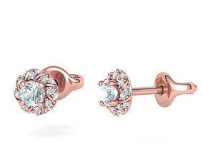 Stud Earrings Round Twisted Halo Earrings 3dmodel