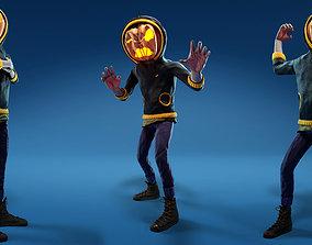 Halloween pumpkin Jack-o-lantern character 3D asset