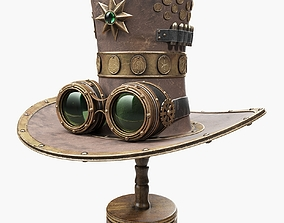 Steampunk Hat on a Wooden Stand 3D model