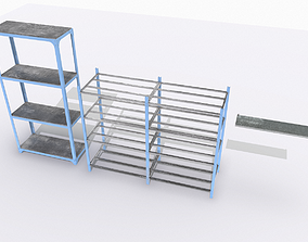 3D model low-poly Industrial shelves 1